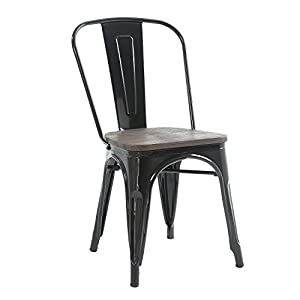Buschman Set of Four Black Wooden Seat Tolix-Style Metal Indoor/Outdoor Stackable Chairs with Back