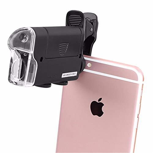 Universal Clip LED Zoom 60X-100X Pocket Microscope Magnifier for Cellphone UV Currency Detectting Biology Jewelry Appraisal Microscope