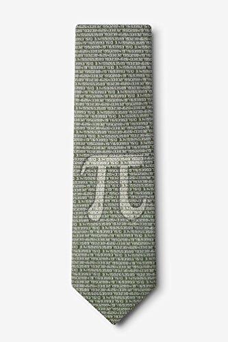 Pi To The 50th Decimal Green Microfiber Tie
