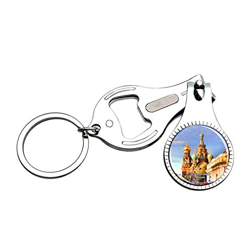 Hqiyaols Keychain Russia Savior on The Spilled Blood St. Petersburg Nail Clipper Bottle Opener Nail File Keychain Crystal Stainless Steel Souvenirs Gifts (Tag Office Petersburg St)