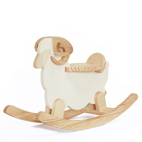 WOODSTUDIOALP Wooden Rocking Cream Sheep 100% Handmade by WOODSTUDIOALP