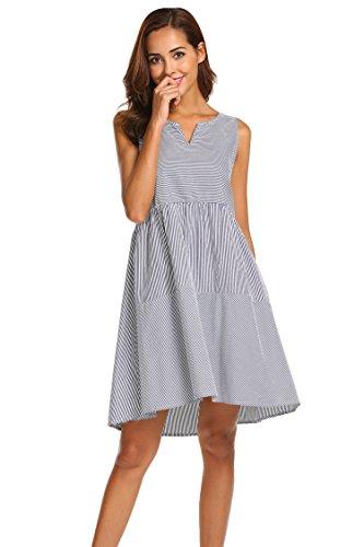 Ekouaer Women's Striped Sleepwear Casual Lounge House Dres Sleeveless Nightgown, Navy, (Sleeveless Lounger)
