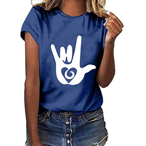 Plus Size Love Gesture Printed T Shirts Womens Loose Short Sleeve Tops Plus Size Summer Tees Blouse Pocciol