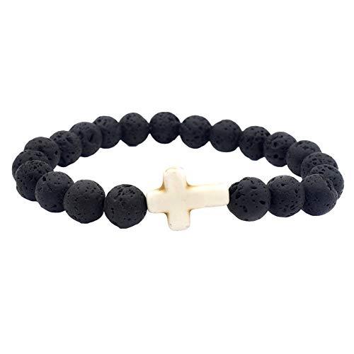 - DFYtr511po Natural Volcanic Stone Beaded Cross Bracelet Energy Bracelet Multicolor Lava Bracelet Jewellery White