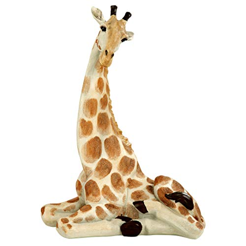(Design Toscano EU1015 Zari The Resting Giraffe African Decor Garden Statue, 20 Inch, Full Color)