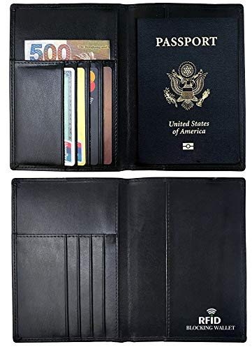 RFID Blocking Wallet, Genuine Leather Passport Holder Wallet Cover Case (Best Rfid Blocking Passport Wallet)