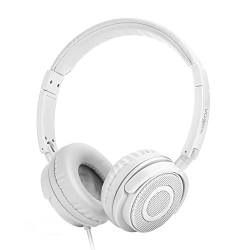 On Ear Headphones, Vogek Lightweight and Foldable On Ear Headphones with Volume Control and Microphone - White