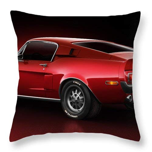 Square Throw Pillow Case Cover Decorative Cushion Cover Pillowcase Cover for Sofa Bed Chair Auto Seat Cotton 18x18 Inch [Shelby Gt500 Redline]