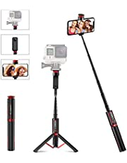Selfie Stick for Gopro DSLR Camera Smartphone - BlitzWolf Lightweight Aluminum All in One 84cm Extendable Selfie Stick Tripod with Wireless Remote for iPhone, Samsung, Huawei, LG, Sony, Android