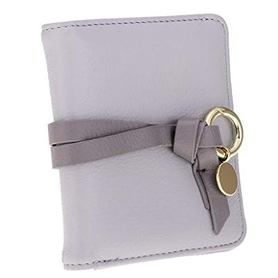 Women Vintage PU Leather Short Bifold Wallet Money Card Holder Clutch Purse (Color - Light Grey)