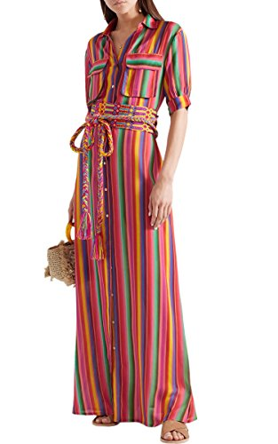 Clothing Dresses Rainbow Belt Womens (ECOWISH Womens Dresses Rainbow Striped Loose Button Down Casual Maxi Long Dress Pockets Red 3XL)