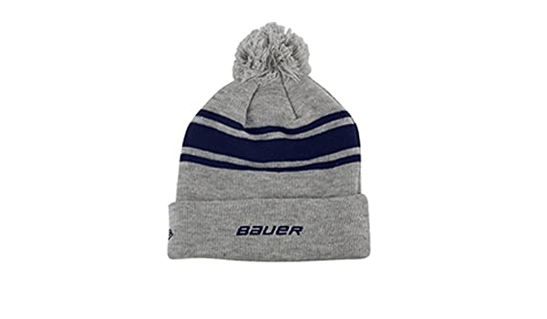 80a2a64a52c Amazon.com  Bauer New Era Team Striped Pom Pom Knit Hat - Navy  Sports    Outdoors