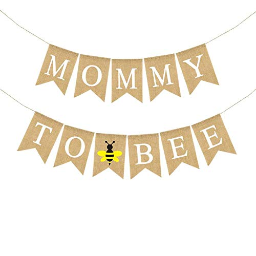 Rainlemon Jute Burlap Mommy to Be Banner Bumble Bee Theme Boy Girl Baby Shower Party Decoration Supply
