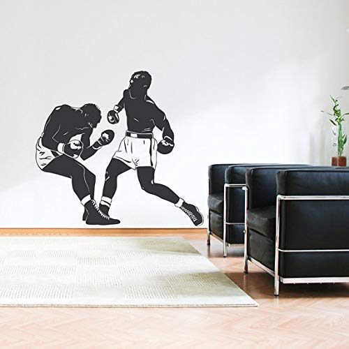 Boxing Match Wall Decal Newly Arrivals Sports Room Wall Sticker Boxer Decals Wall Art for Men Teens Bedroom Home Decor 61X56