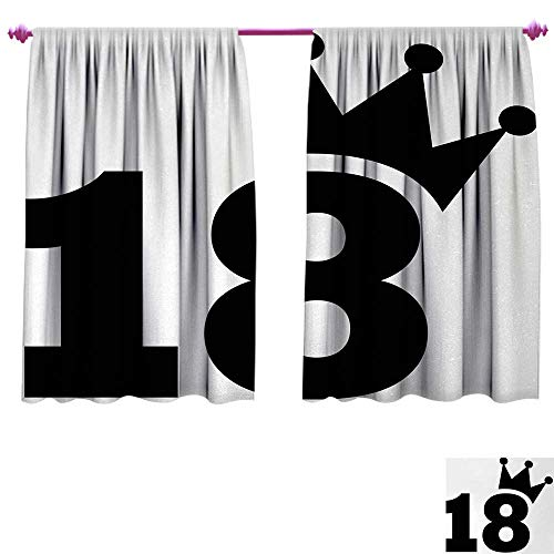 Anniutwo 18th Birthday Blackout Draperies for Bedroom Cartoon Soccer Jersey Seem Bold 18 Number Party Sports Playing Art Print Window Curtain Drape W84 x L72 Black and ()