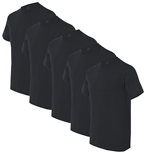 Fruit of the Loom Men's 5-Pack Crew Neck T-shirt, Black, Medium