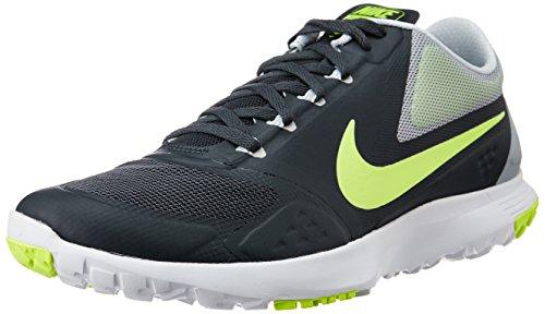 Nike Fs Lite Trainer Ii Hommes Bout Rond Synthétique Bleu Chaussure De Course Anthracite / Loup Gris / Platine Pur / Volt