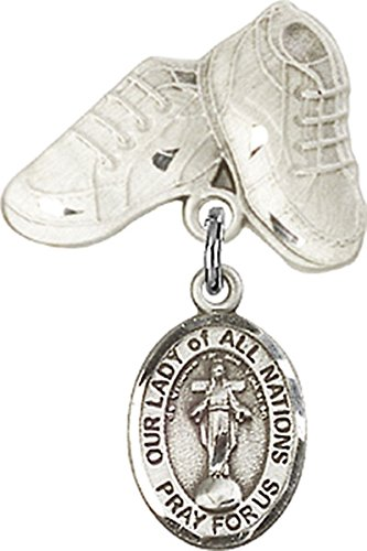 Sterling Silver Baby Badge Baby Boots Pin with Our Lady of All Nations Charm, 3/4 Inch