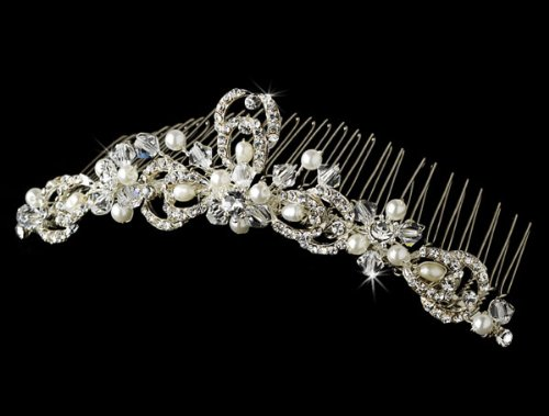 Wedding Bridal Comb with Dainty Swarovski Crystal & Pearl by outlet