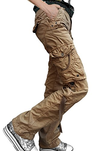 SkylineWears Mens Casual Cargo Pants Military Army Styles Cotton Trousers Khaki - Khaki Cargo Style Pants