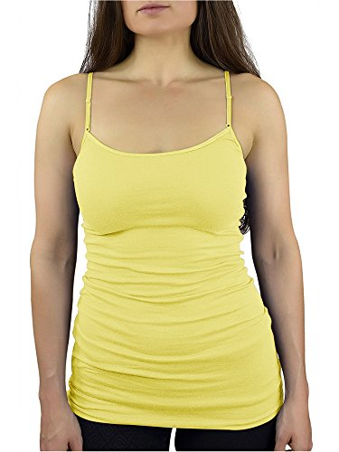 7821c13194beb5 Belle Donne Tank Tops with Built in Bra Cami Camisole Women Girls Juniors  Banana Small