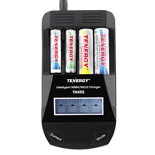 Tenergy TN455 AA AAA Battery Charger, 4-Slot Household Battery Charger, AA Cell Battery Charger with Individual Bay LCD Display, Intelligent Smart Charger for NiMH/NiCd Rechargeable Batteries ()