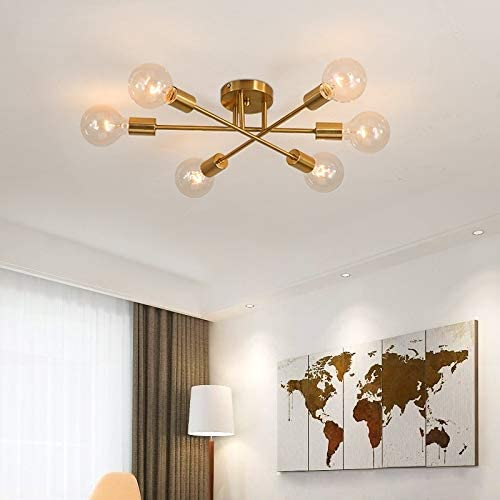 Mid Century Modern 6-Light Sputnik Chandelier Light Fixture Nordic Personality Ceiling Light Semi Flush Mount Ceiling lamp Brushed Antique Gold Geometric Pendant Lighting Indoor Lighting