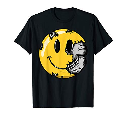 Halloween Scary Smiley Face T Shirt Smiling Skull -