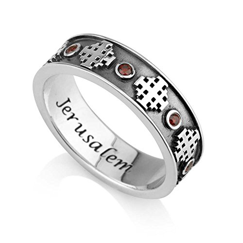 Marina Jewelry 925 Sterling Silver and Ruby Ring, Womens or Mens Band, Embossed Jerusalem Cross