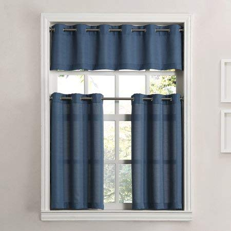 Mainstay Solid Grommet 3-Piece Kitchen Curtain Tier Valance Set, 54x36, Blue