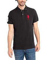 U.S. POLO ASSN. Mens Classic Big Logo Solid Pique Polo Shirt with #3 Patch