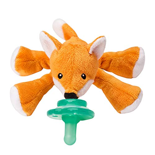 Nookums Paci-Plushies Buddies Pacifier Holder - Plush Toy Includes Detachable Pacifier, Use with Multiple Brand Name Pacifiers (Fox) - Make Pacifier Holder