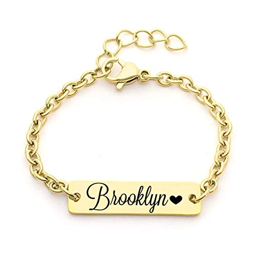 Personalized Dainty Baby Name Gold Bar Bracelet - Hypoallergenic - Custom Engraved Babies Name - Newborn to Children -