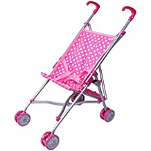 Precious Toys Pink and White Polka Dots Umbrella Doll Stroller with Hot Pink Handles and Silver Frame - 0128B
