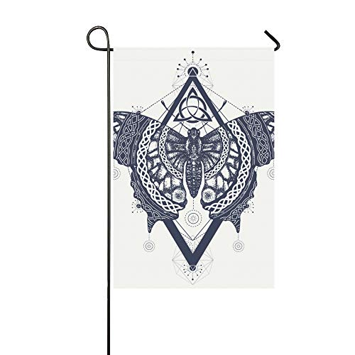 WIEDLKL Home Decorative Outdoor Double Sided Butterfly Tattoo Art Celtic Style Mystical Garden Flag House Yard Flag Garden Yard Decorations Seasonal Welcome Outdoor Flag 12x18in Spring Summer - Tattoos Celtic Butterfly
