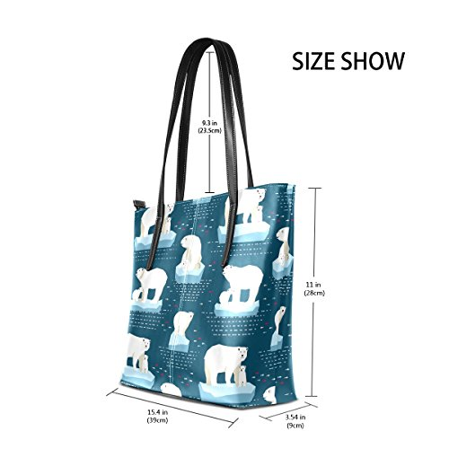 Top Handle Bags Totes Handbag TIZORAX Fashion Leather Purses PU Women's Polar Bear Shoulder wTxATqv80