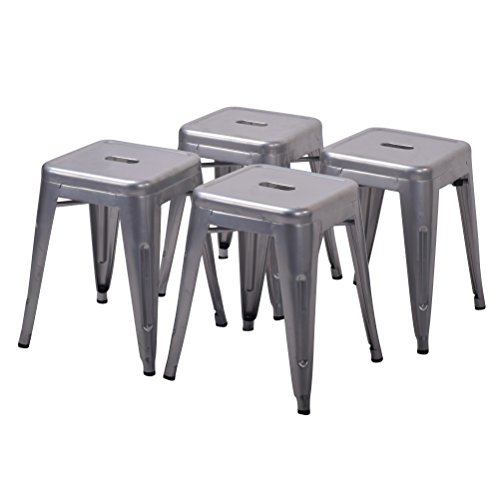 tal Bar Stool for Indoor-Outdoor Kitchen Counter Bar Stools Set of 4 (18 inch, Light Silver) (Silver Metal Bar Table)