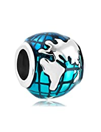 New Ocean Blue Earth World Globe Charm Sale Cheap Jewelry Beads Fit Pandora Bracelets