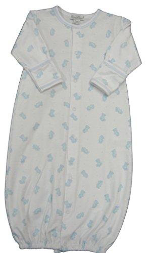 Kissy Kissy Baby-Boys Infant Tiny Teddy Print Convertible Gown-White With Blue-Small Kissy Kissy Teddys