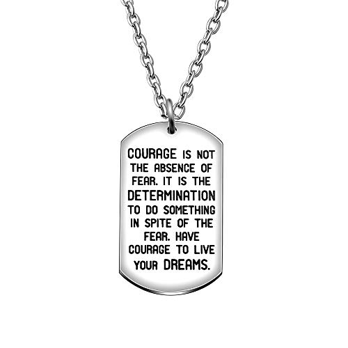 CAROMAY Pendant Necklace Inspirational Graduation Gift Courage is Not The Absence of Fear for Men Women Son Girls (Courage)