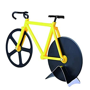 BALFER Bicycle Pizza Cutter Dual Stainless Steel Bike Pizza Cutter Wheel (Yellow & Black)