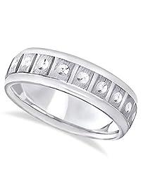 Men's Comfort Fit Satin Finished Carved Design Band Wedding Ring in Palladium (7mm)