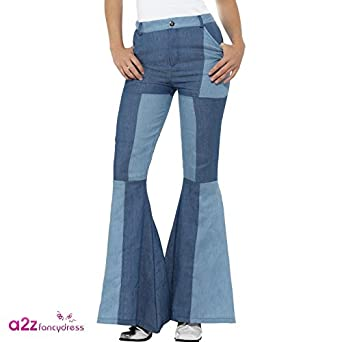 Vintage High Waisted Trousers, Sailor Pants, Jeans Smiffys Womens Deluxe Flared Pants Ladies $35.29 AT vintagedancer.com