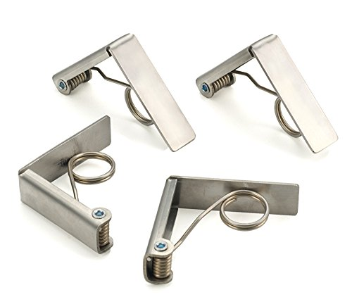 RSVP International  Endurance Stainless Steel Tablecloth Clips, Set of 4,Silver,1 - Tablecloth Clips