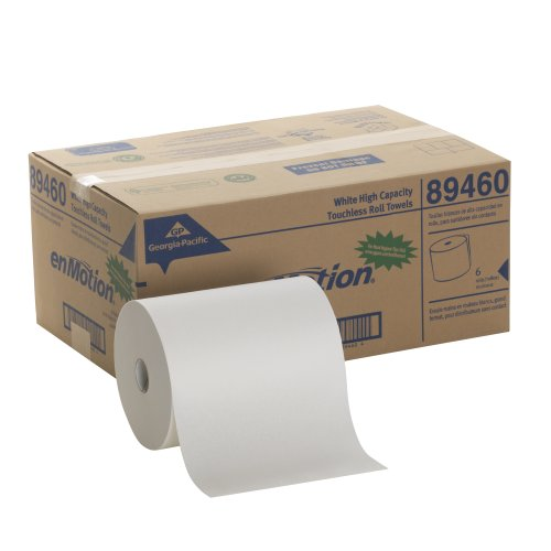"Georgia-Pacific enMotion 894-60 800' Length x 10"" Width, White High Capacity Touchless Roll Towel (Roll of 6) from Georgia-Pacific"