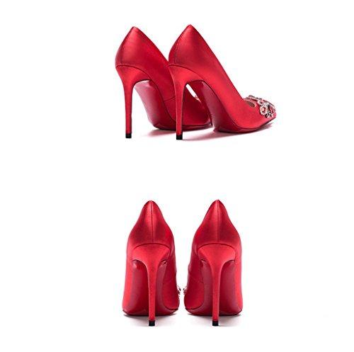 Rouge 8cm Chinois Chaussures Souligné Mariée De couleur Fines De Mariage Des Avec Rouges Chaussures Talons Peu Ont Style Satin 40 La Hauts Profonde Soie Nouveau Taille gOqwdwUB