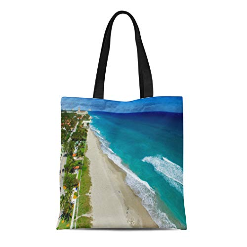Semtomn Canvas Tote Bag Blue West Coastline of Palm Beach Aerial View Florida Durable Reusable Shopping Shoulder Grocery Bag (Shopping West Beach Palm)