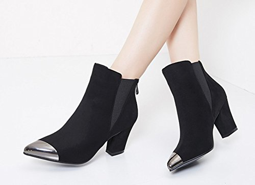 Aisun Femmes Sexy Bout Pointu Retour Robe À Glissière Bloc Moyen Talons Chaussons Chaussures Noir