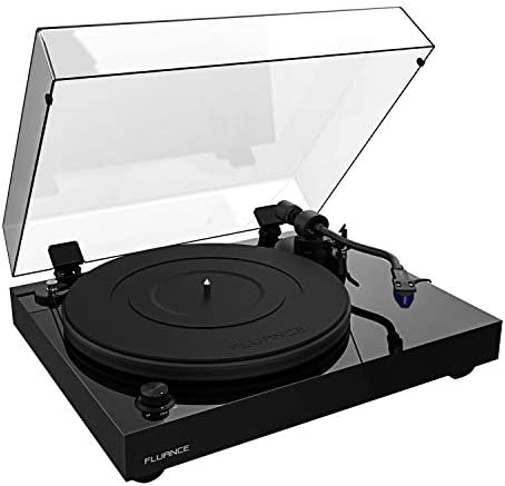 Fluance RT84 Reference High Fidelity Vinyl Turntable Record Player with Ortofon 2M Blue Cartridge, Speed Control Motor, Solid Wood Plinth, Vibration Isolation Feet – Piano Black