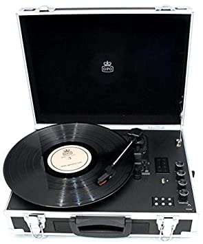 599fd3f8267de GPO Flight Case 3-Speed Vinyl Turntable with Built-In  Amazon.co.uk   Electronics